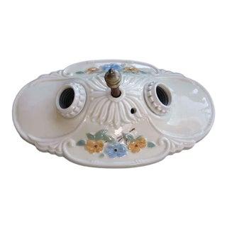 Porcelain Floral Ceiling Mount Fixture For Sale
