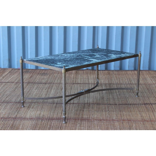Vintage Brass Table With Stone Top, France, 1940s For Sale - Image 4 of 11
