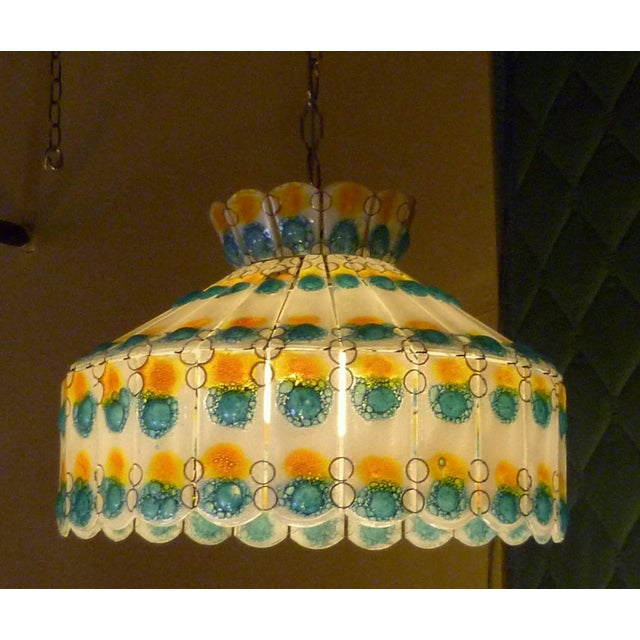 Blue 1960s Mid-Century Modern Fused Art Glass Chandelier For Sale - Image 8 of 8