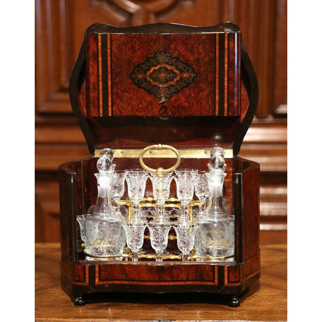 Late 19th Century 19th Century French Napoleon III Walnut and Burl Complete Cave a Liqueur For Sale - Image 5 of 13