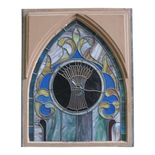 Late 19th Century Vintage Wheat and Sickle Gothic Leaded Stained Glass Window For Sale