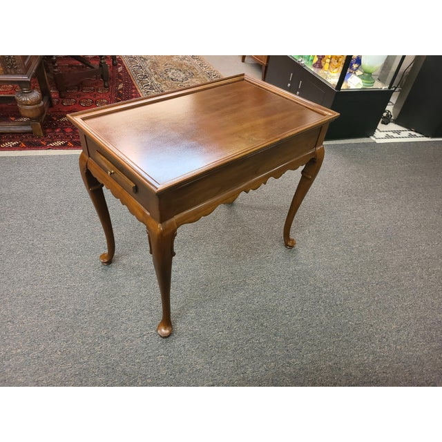 Queen Anne Vintage Ethan Allen Georgian Court Mahogany Tea Table For Sale - Image 3 of 11