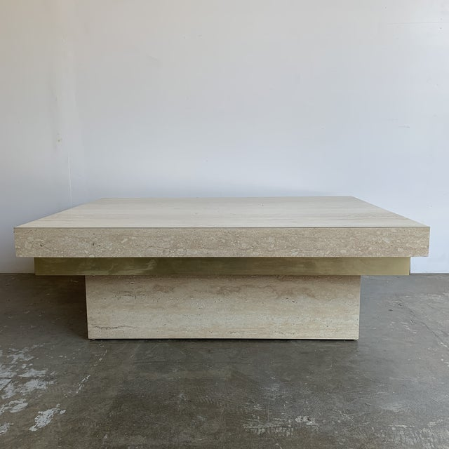 Metal Faux Travertine and Brass Coffee Table For Sale - Image 7 of 12