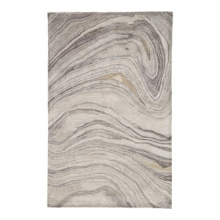 Jaipur Living Atha Handmade Abstract Gray/ Gold Area Rug - 5' X 8' For Sale