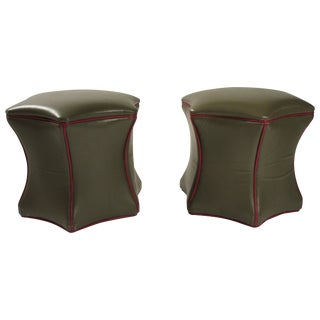 Pair of Green Leather Ottomans on Wheels For Sale