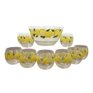 Mid-Century Culver Lemon Blossom Punch Set For Sale