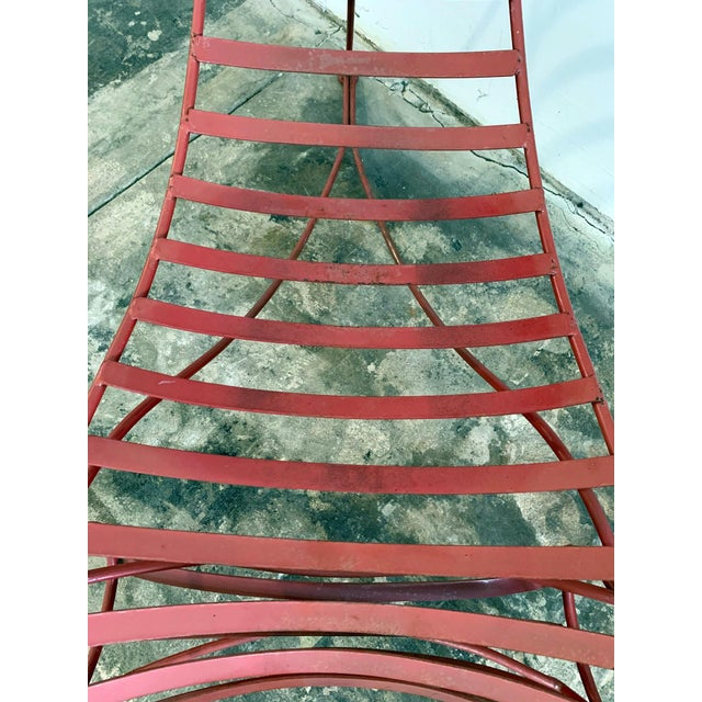 Red Iron Spine Chair Attributed to Andre Dubreuil For Sale - Image 8 of 11