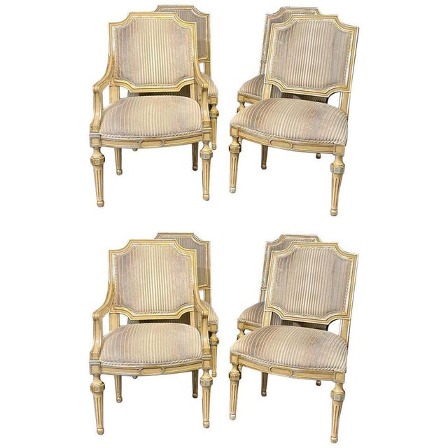 Set of Eight Louis XVI Style Dining Chairs Painted and Parcel-Gilt, Jansen Style For Sale - Image 13 of 13