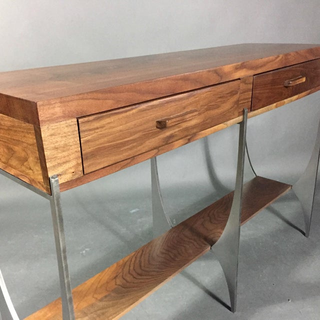 2010s Richard Vellosso Walnut & Steel Console Table, Usa For Sale - Image 5 of 13