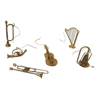 Vintage Brass Miniature Musical Instrument Ornaments - Set of 6 For Sale