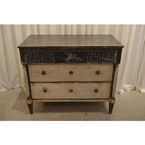 Antique Chest With New Paint (Black and White) From Spain For Sale - Image 13 of 13