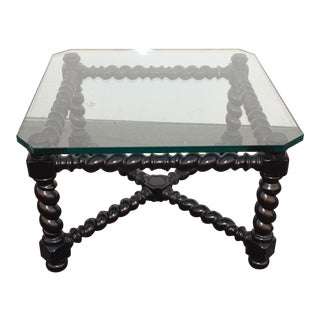 Vintage French Modern Black Twist Base Side Table End Table With Thick Glass For Sale