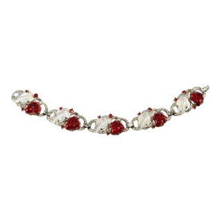 Trifari Fruit Salad Bracelet Red and Moonstone Vintage For Sale