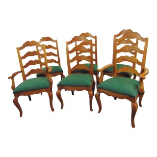 Ethan Allen Legacy Country Style Ladderback Dining Chairs - Set of 6 For Sale