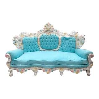 Unqiue Very Big Italian Baroque Venetian Style Baby Blue Velvet Throne Sofa / Settee