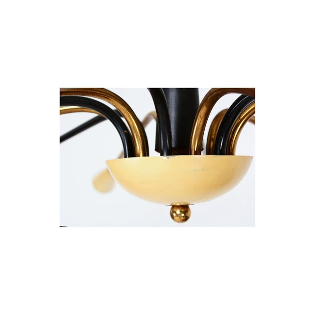 For your consideration: a vintage Italian chandelier in the style of Angelo Lelli for Arredoluce. 12 arms brass, six are...