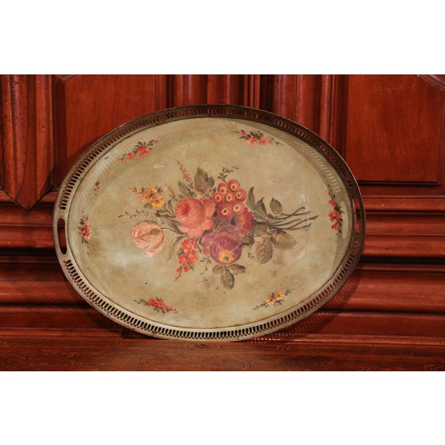 19th Century French Hand-Painted Oval Gallery Tole Tray With Flowers and Foliage For Sale - Image 4 of 6