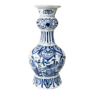 Antique 18th-Century Dutch Delft Bird Floral Knobble Vase For Sale