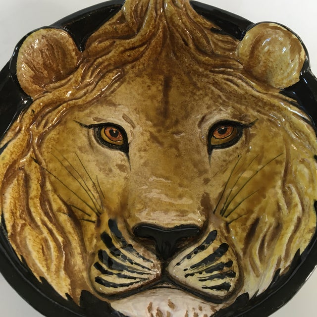 Hollywood Regency Mid-Century Italian Hollywood Regency Lion Decorative Bowl/Catchall For Sale - Image 3 of 11