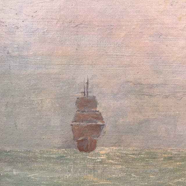 Vintage Seascape Clipper Ship Oil Painting Signed For Sale - Image 4 of 12