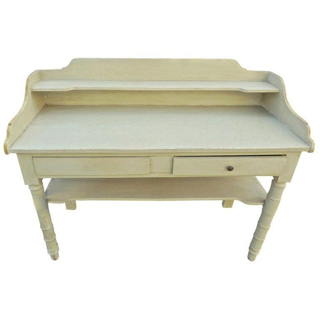 19th Century French Painted Server or Vanity With Two Drawers and Two Shelves For Sale - Image 12 of 12
