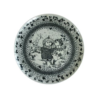 1970s Vintage Bjørn Wiinblad for Nymølle Denmark Winter Decorative Plate For Sale