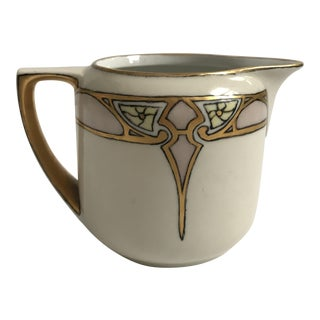 Art Deco Creamer with Gold & Blush Detailing For Sale