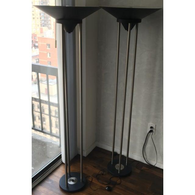 Contemporary Metal Floor Lamps - Pair - Image 3 of 3
