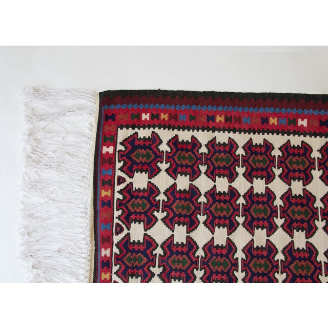 1960s Turkish Jewel Toned Kilim Rug With Long Tassel For Sale - Image 5 of 6