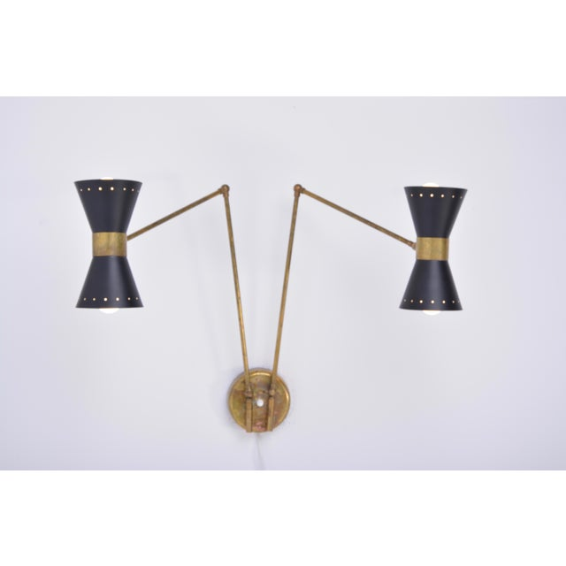 Italian Two-Armed Adjustable Metal Wall Lamp With Brass Elements For Sale - Image 9 of 9