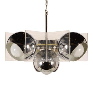 4078561aefb7 Chrome and Lucite Mid Century Modern Chandelier For Sale