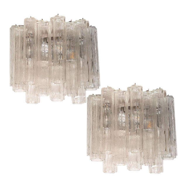 Mid-Century Staggered Translucent Glass Tronchi Sconces With Nickel Fittings - a Pair For Sale