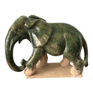20th Century Asian Terra Cotta Green Glazed Elephant For Sale