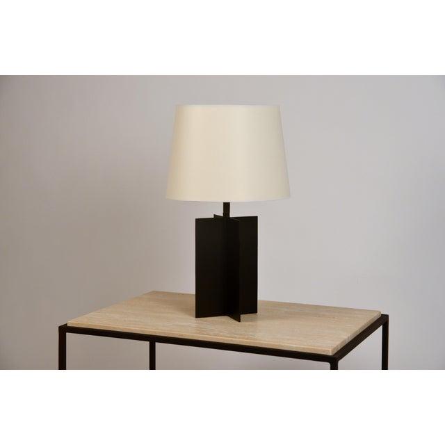 White Medium 'Croisillon' Matte Black Steel Table Lamps by Design Frères - a Pair For Sale - Image 8 of 11