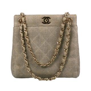 Chanel Lurex Linen Mini Tote For Sale