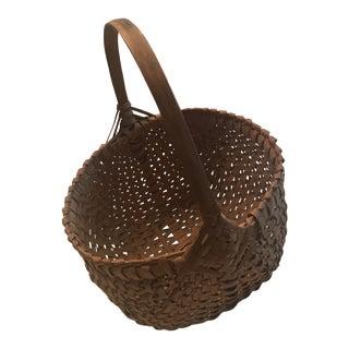 Antique Egg Gathering Woven Basket For Sale