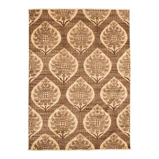 Tan Wool Transitional Hand-Knotted Rug For Sale