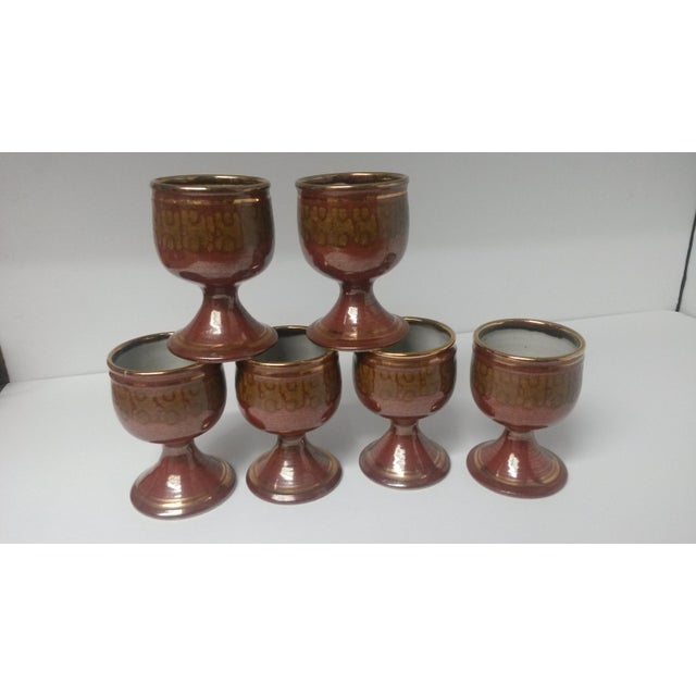 Mid-Century Artisan Pottery Rust and Gold Wine Goblets Signed Parker - Set of 6 For Sale - Image 10 of 13