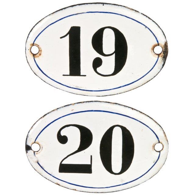 Vintage French Enamel Hotel Room Numbers - A Pair - Image 1 of 2