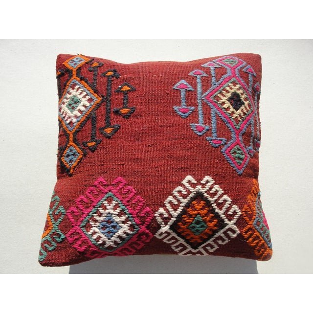 "Kilim Rug Pillow Made from old turkish kilims Back side cotton and has closed with a solid hidden zipper size:16"" x 16"" It..."