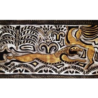 Hunting Lion Silk Velvet Pillow For Sale