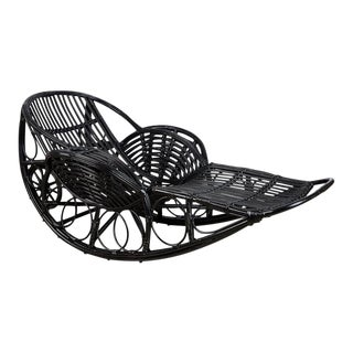 1920s Art Deco Black Lacquer Stick Wicker Daybed