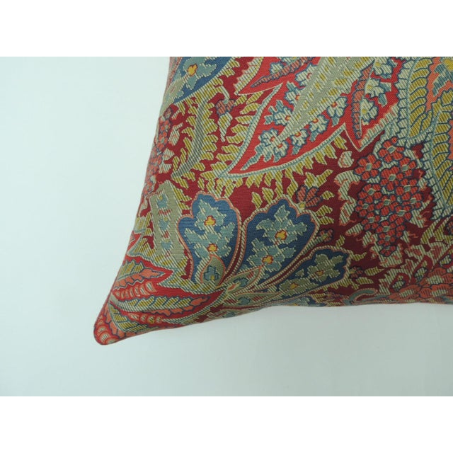 """Pair of Hand printed """"Chandigarh"""" paisley multi-color decorative pillows Red textured linen backings. New Production..."""