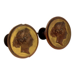 Antique French Cameo Curtain Tie Backs - a Pair For Sale