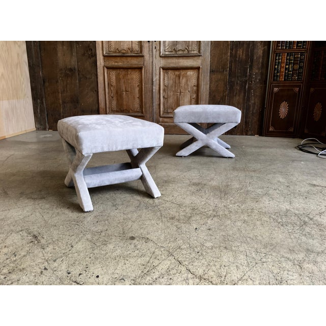 """Mid 20th Century Mid-Century Modern """"X"""" Base Billy Baldwin Style Benches - a Pair For Sale - Image 5 of 10"""