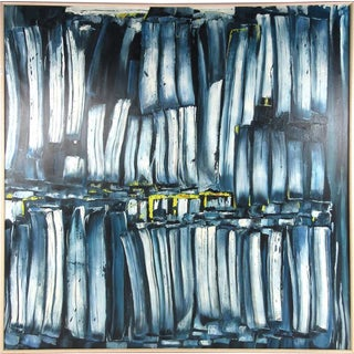 Massive Blue Oil Painting on Canvas For Sale