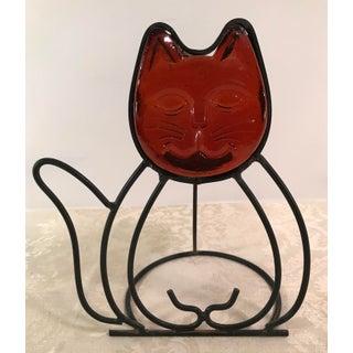 Vintage Orange Glass Cat Candle Holder Preview