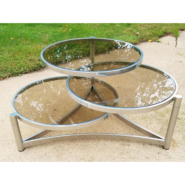 Milo Baughman Tri Level Chrome and Glass Swivel Coffee Table For Sale - Image 11 of 11