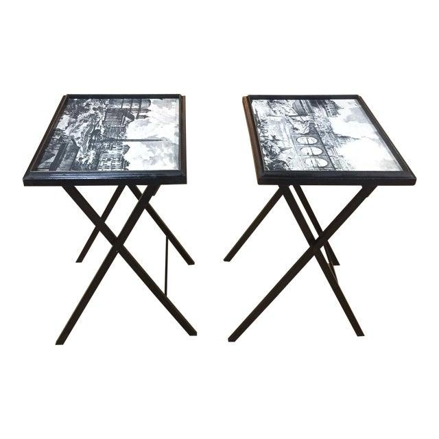 Pair, Mid Century Black Folding X Base tables - Image 1 of 9