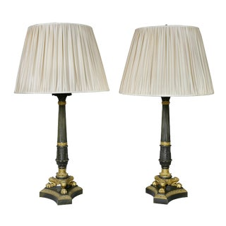 Empire Gilt Bronze Table Lamps - a Pair For Sale